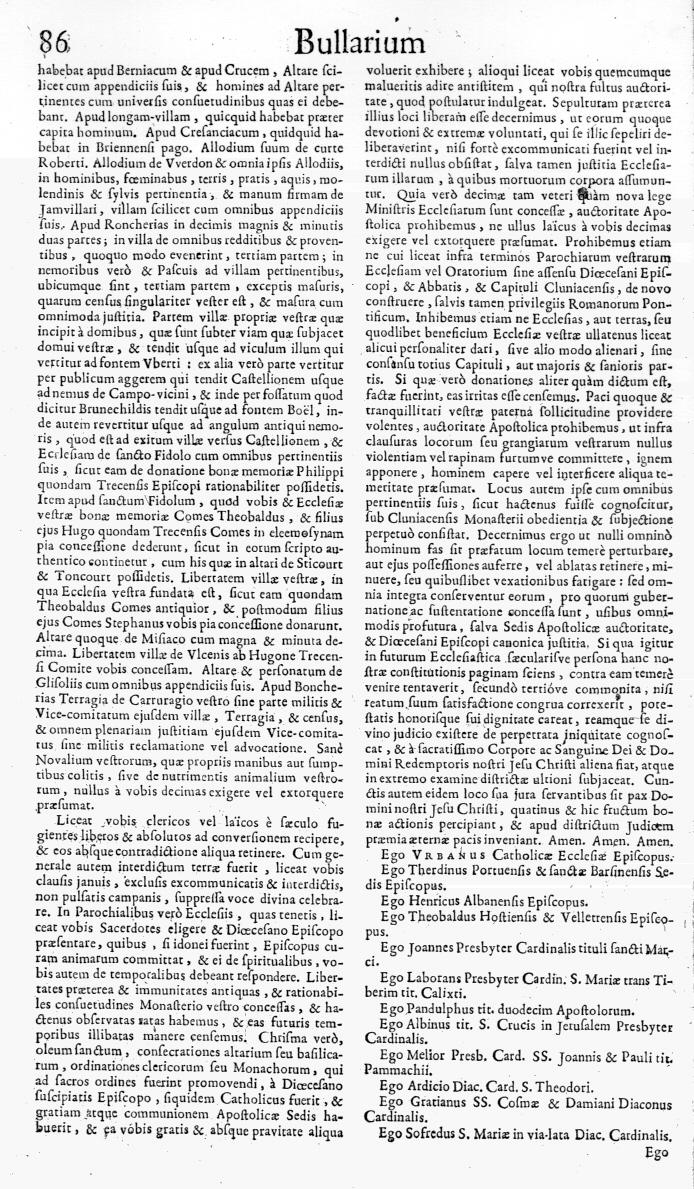 Bullarium Cluniacense p. 086   ⇒ Index privilegiorum