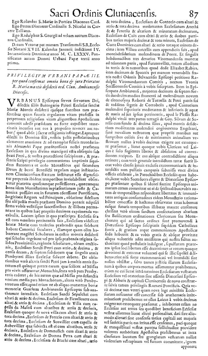 Bullarium Cluniacense p. 087   ⇒ Index privilegiorum
