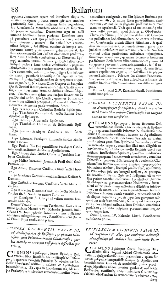 Bullarium Cluniacense p. 088   ⇒ Index privilegiorum