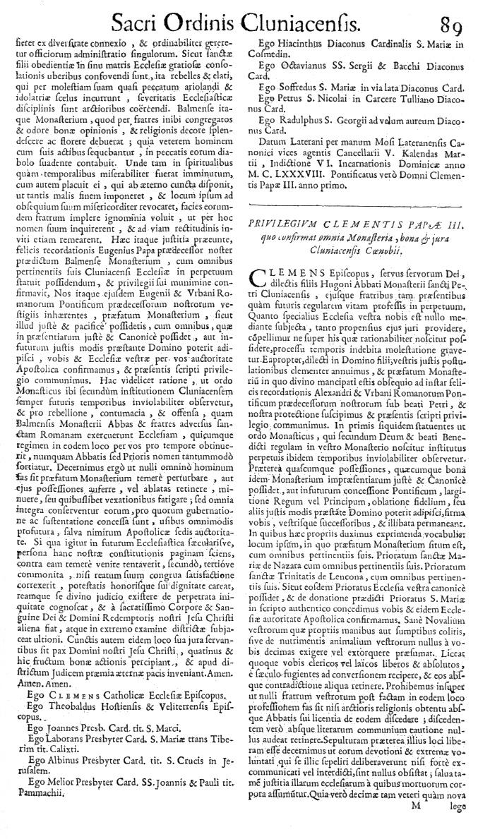 Bullarium Cluniacense p. 089   ⇒ Index privilegiorum
