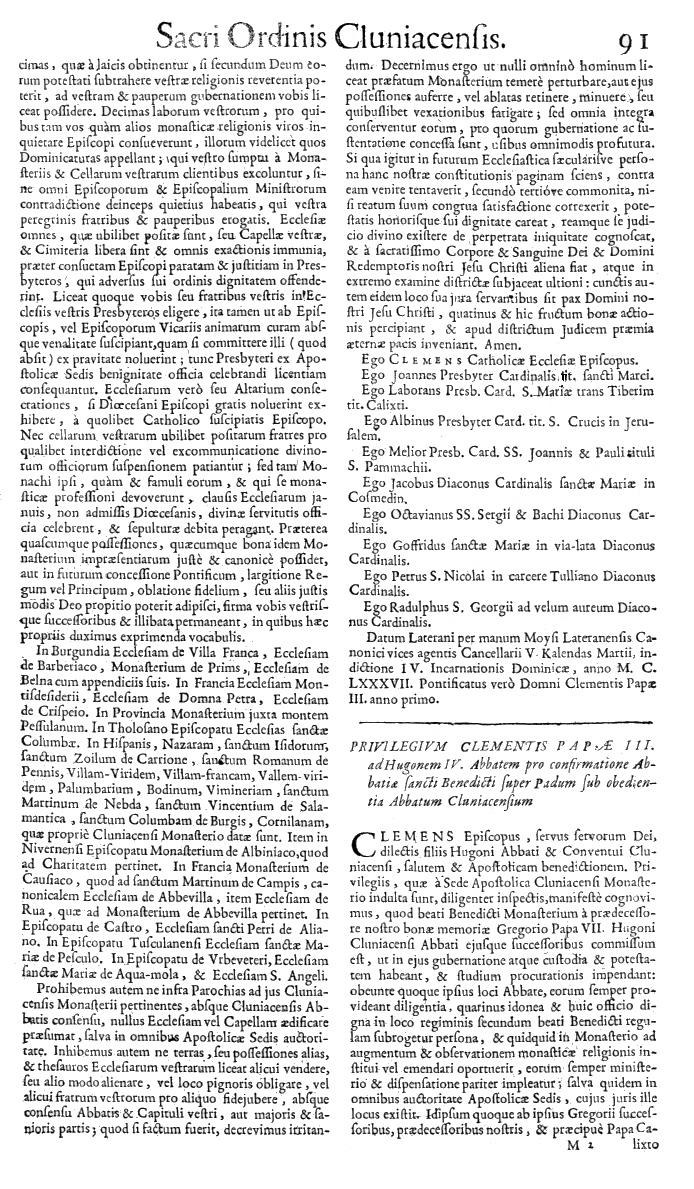 Bullarium Cluniacense p. 091   ⇒ Index privilegiorum