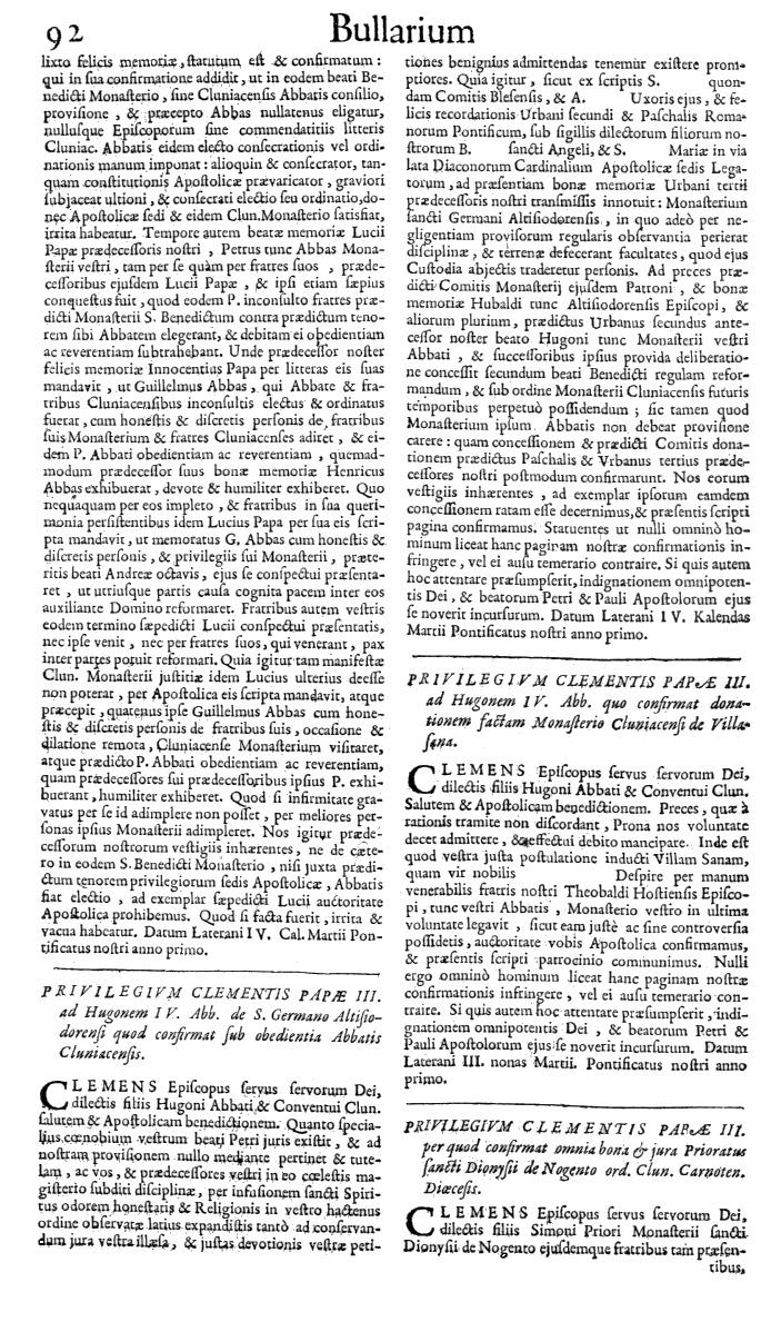 Bullarium Cluniacense p. 092   ⇒ Index privilegiorum