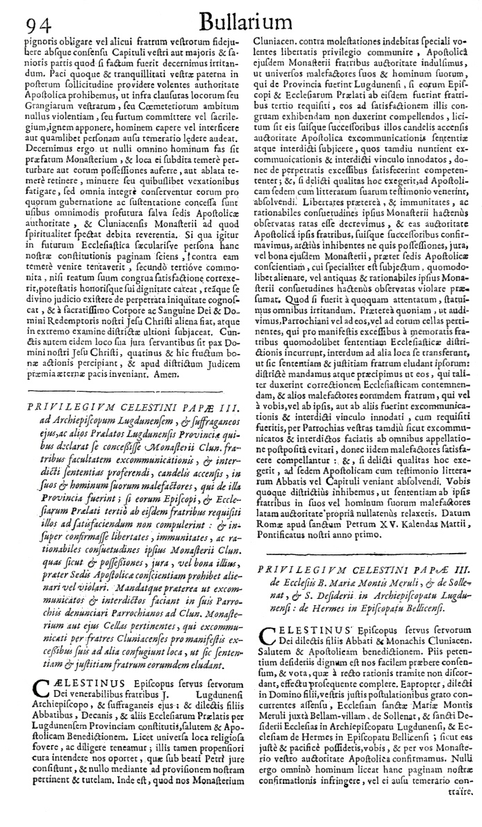 Bullarium Cluniacense p. 094     ⇒ Index privilegiorum