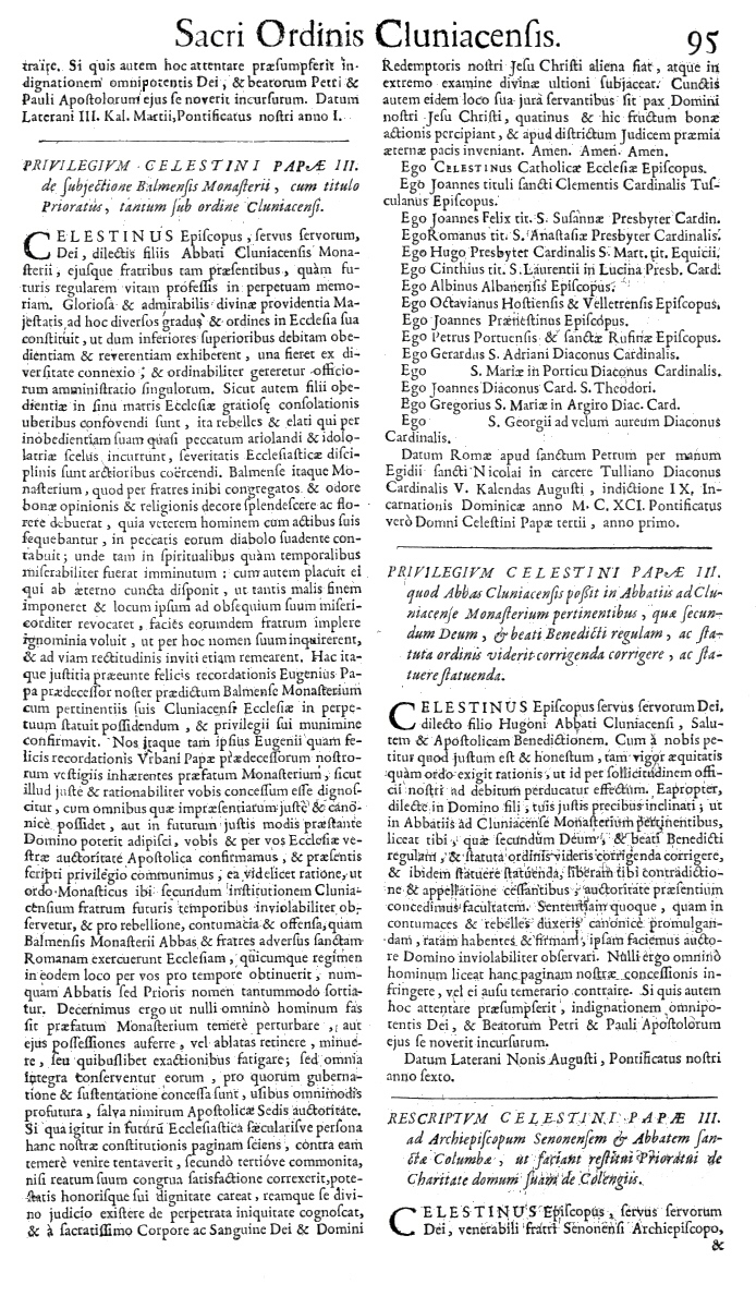 Bullarium Cluniacense p. 095     ⇒ Index privilegiorum