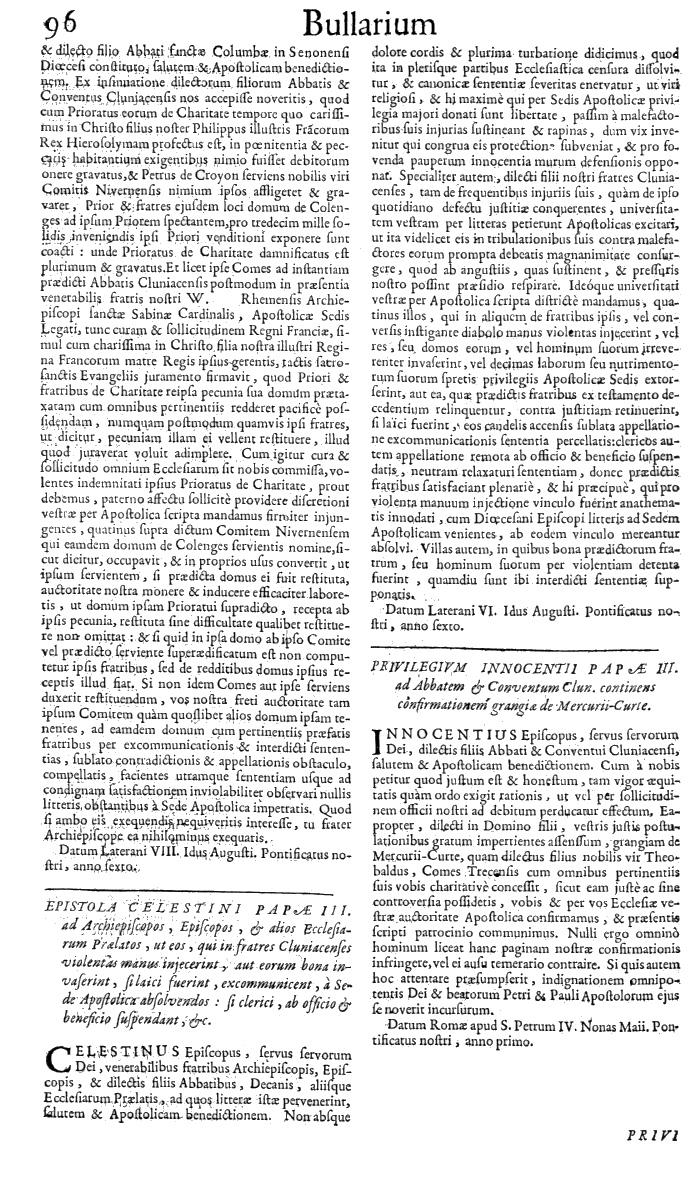 Bullarium Cluniacense p. 096   ⇒ Index privilegiorum