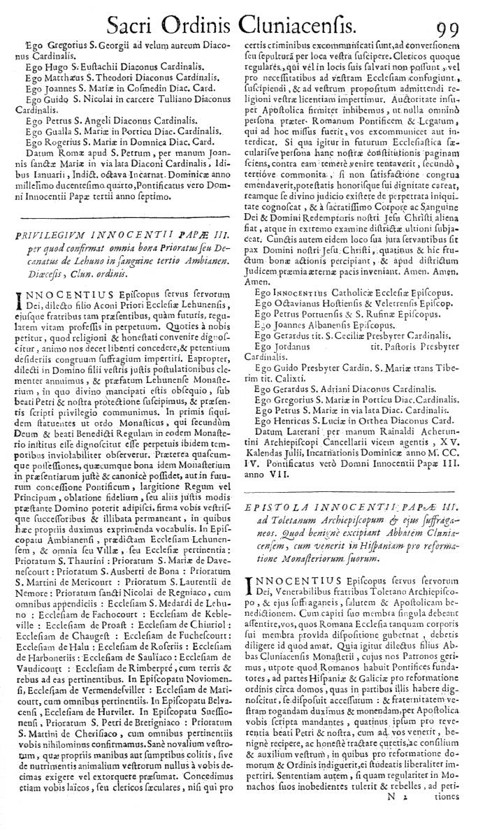Bullarium Cluniacense p. 099   ⇒ Index privilegiorum