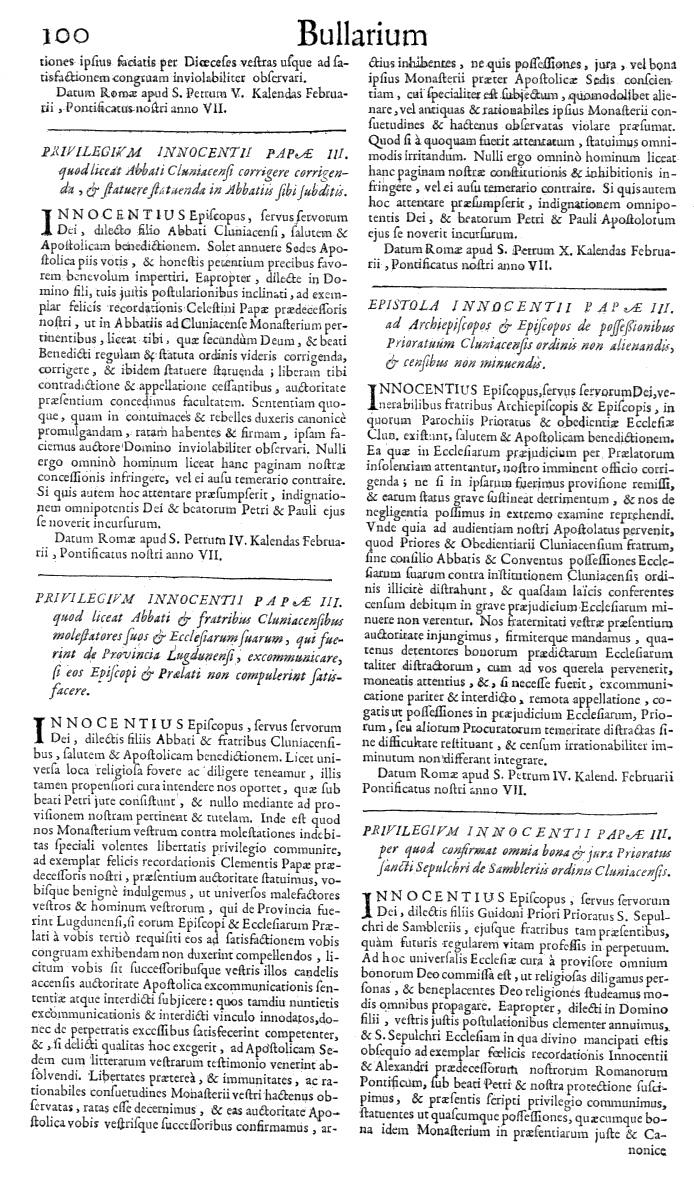 Bullarium Cluniacense p. 100   ⇒ Index privilegiorum
