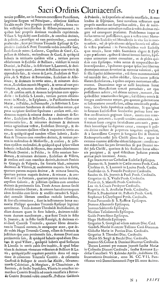 Bullarium Cluniacense p. 101   ⇒ Index privilegiorum