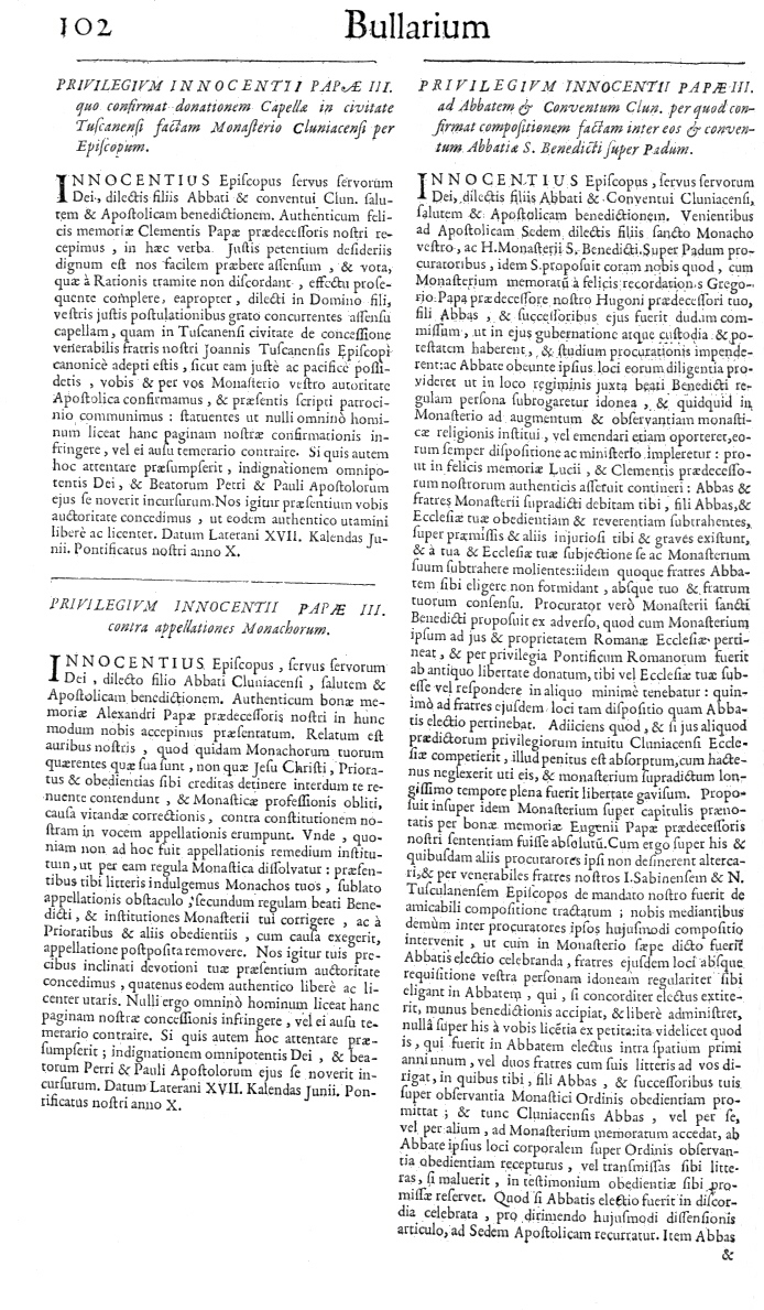 Bullarium Cluniacense p. 102     ⇒ Index privilegiorum