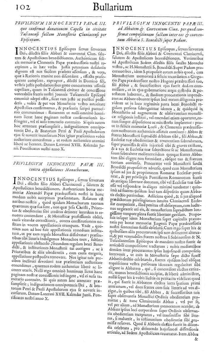 Bullarium Cluniacense p. 102   ⇒ Index privilegiorum