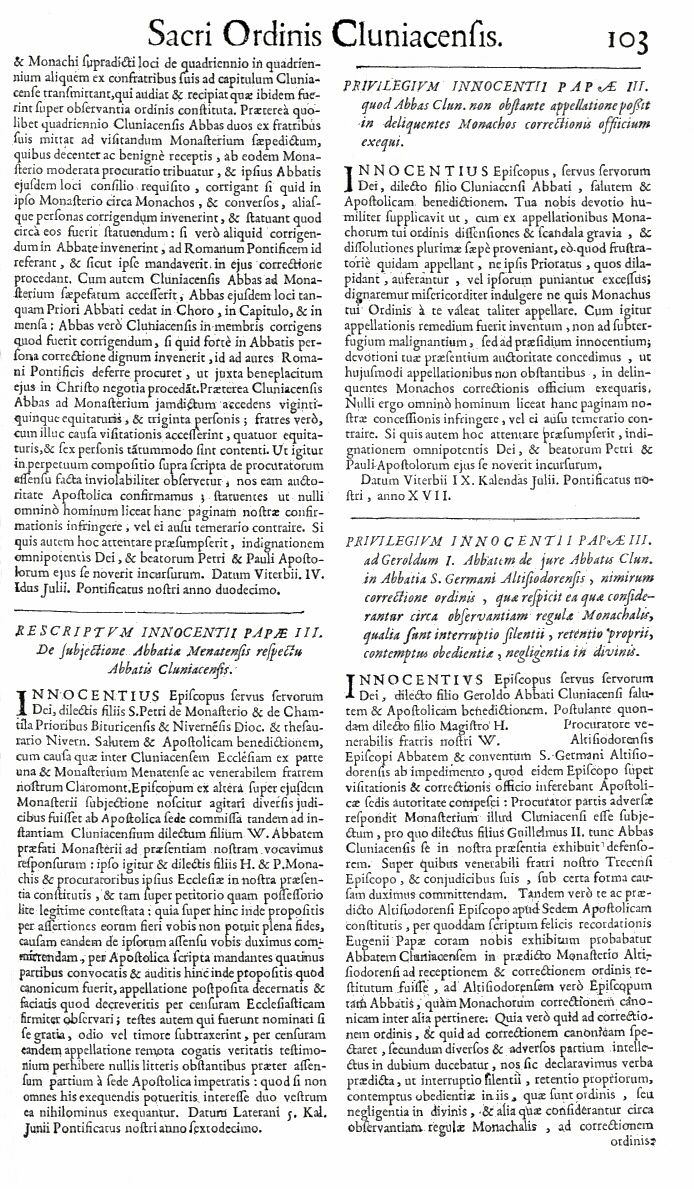 Bullarium Cluniacense p. 103     ⇒ Index privilegiorum
