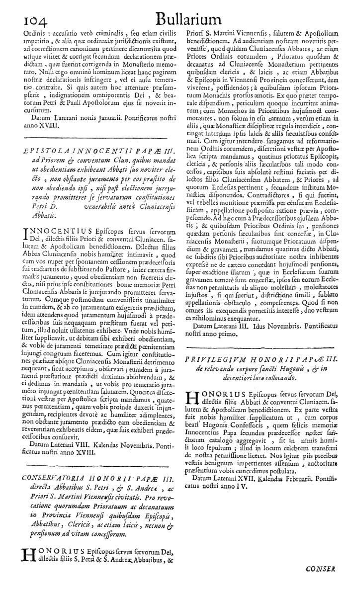 Bullarium Cluniacense p. 104   ⇒ Index privilegiorum