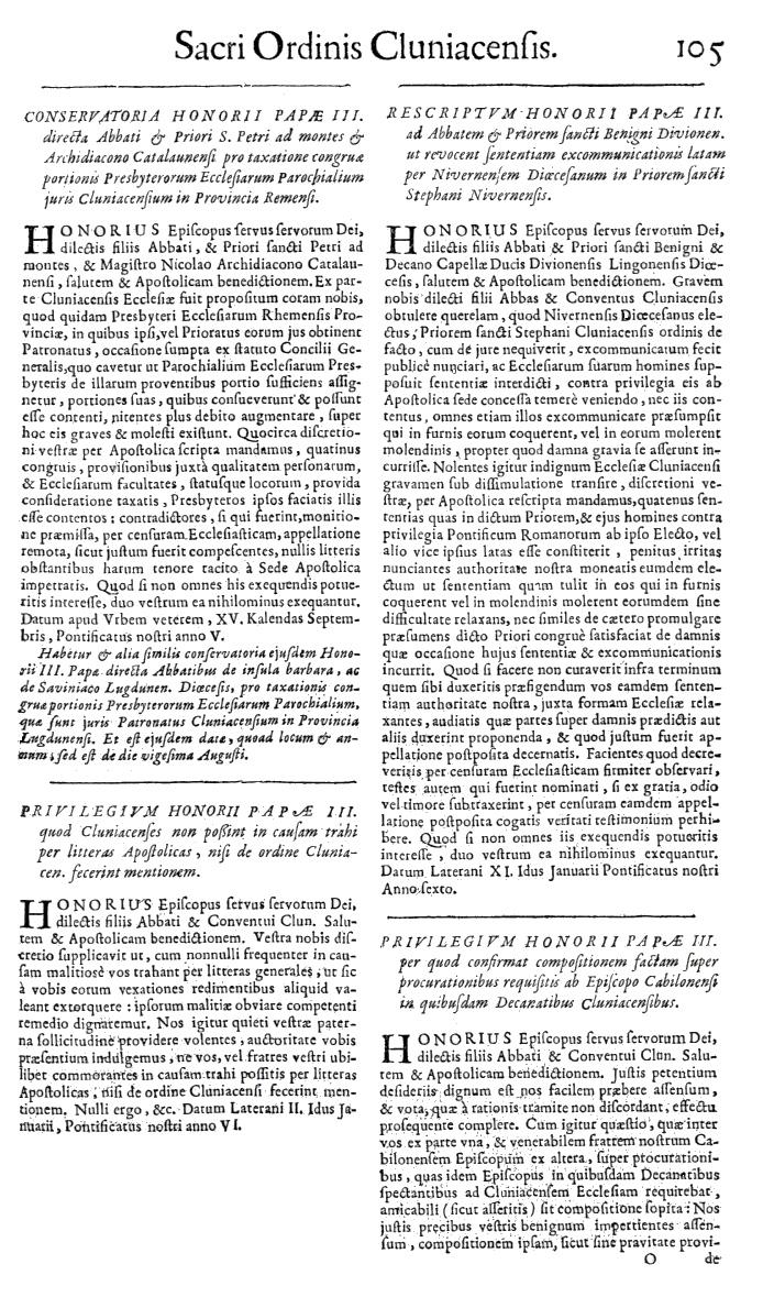 Bullarium Cluniacense p. 105   ⇒ Index privilegiorum