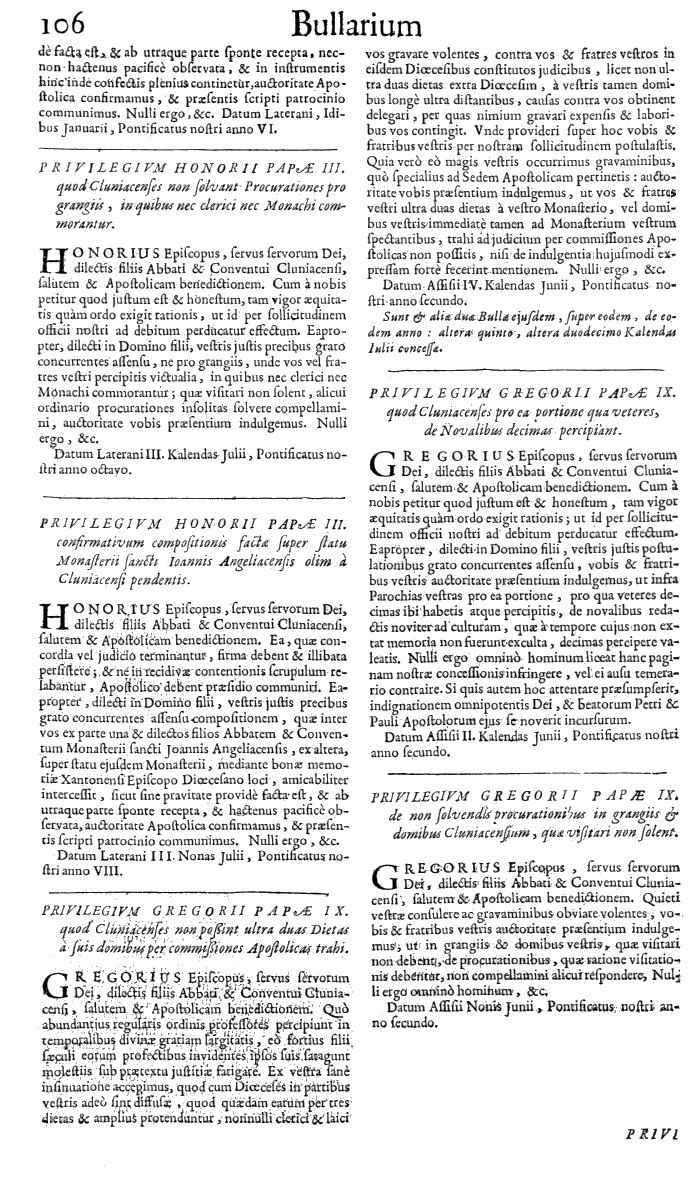 Bullarium Cluniacense p. 106   ⇒ Index privilegiorum
