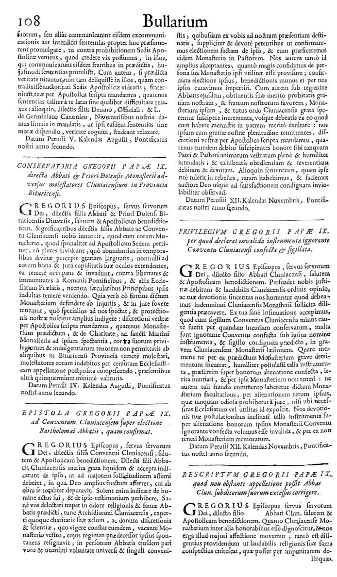 Bullarium Cluniacense p. 108   ⇒ Index privilegiorum