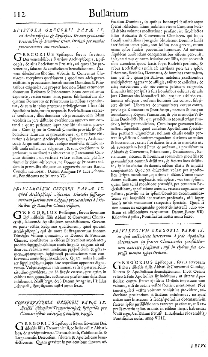 Bullarium Cluniacense p. 112   ⇒ Index privilegiorum