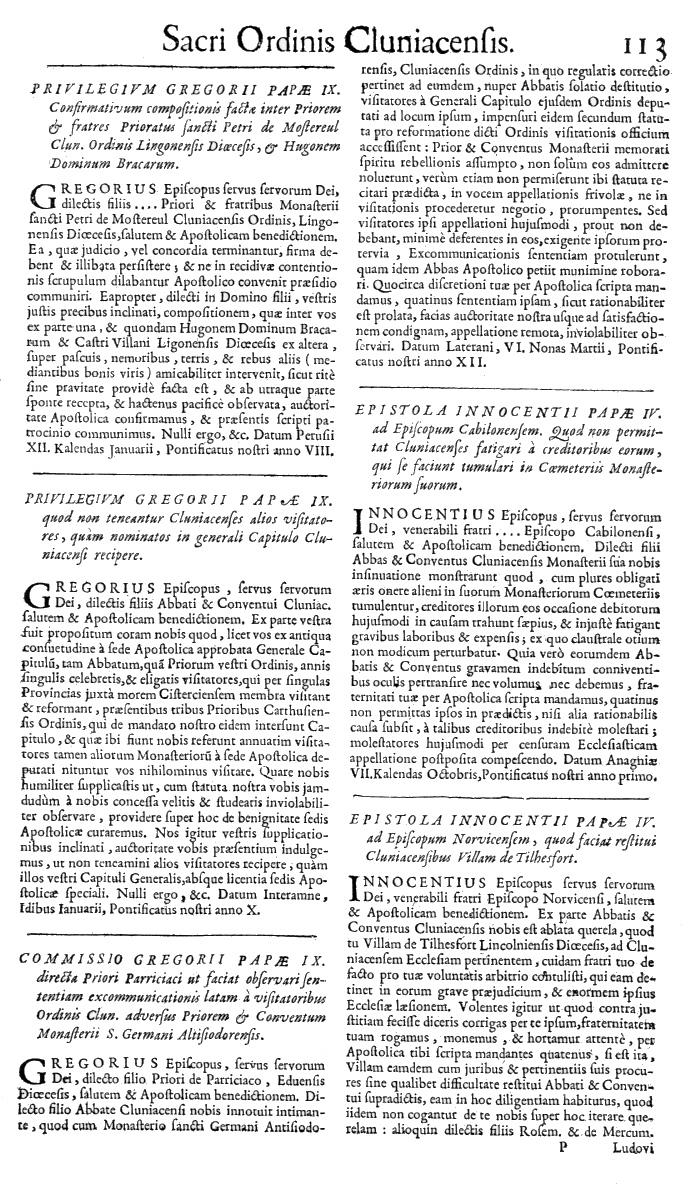 Bullarium Cluniacense p. 113   ⇒ Index privilegiorum