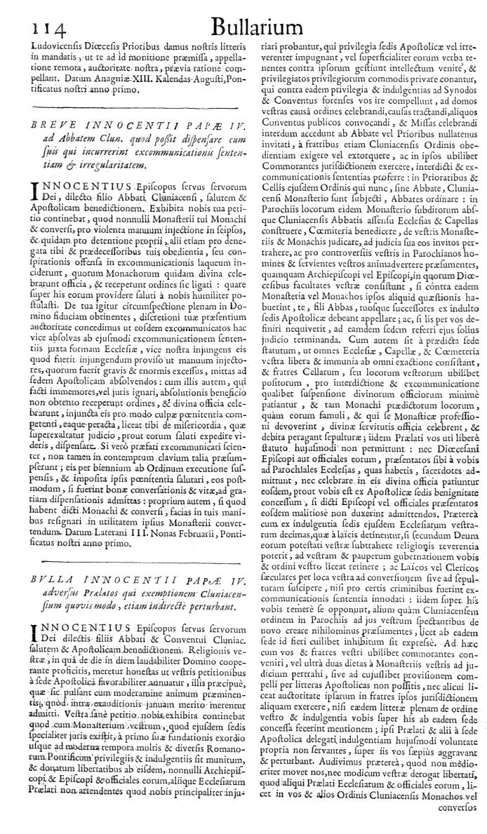 Bullarium Cluniacense p. 114   ⇒ Index privilegiorum