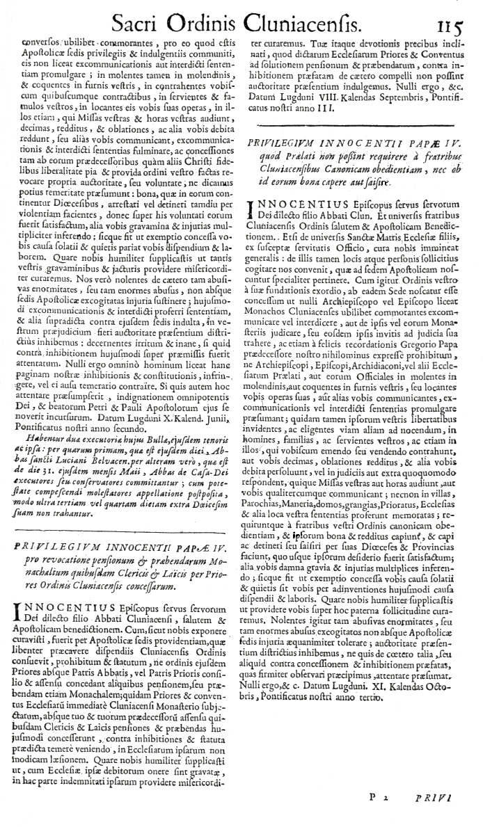 Bullarium Cluniacense p. 115     ⇒ Index privilegiorum