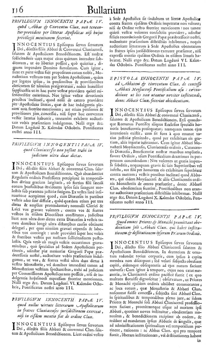Bullarium Cluniacense p. 116   ⇒ Index privilegiorum