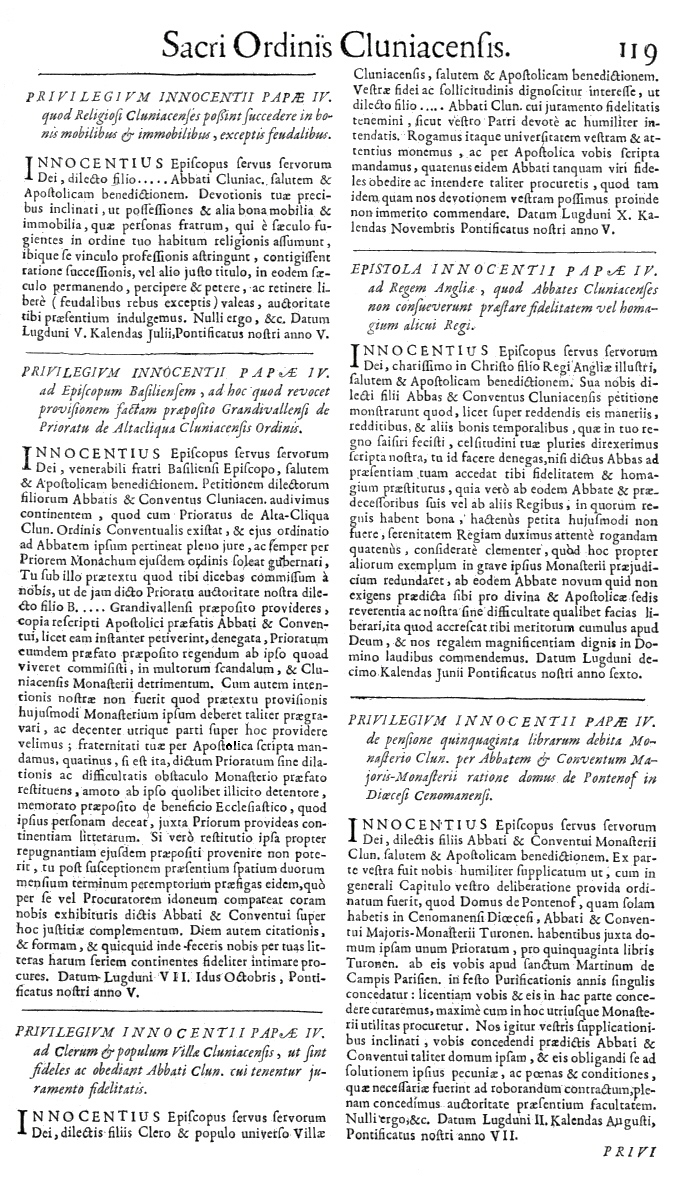 Bullarium Cluniacense p. 119     ⇒ Index privilegiorum