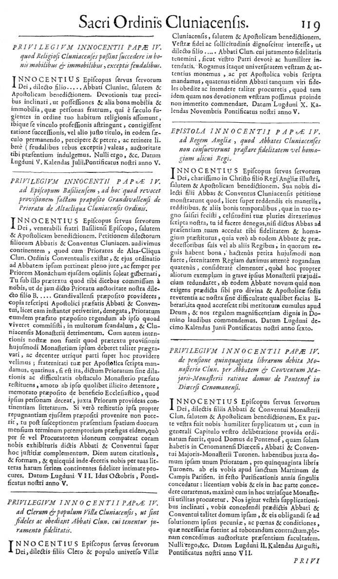 Bullarium Cluniacense p. 119   ⇒ Index privilegiorum