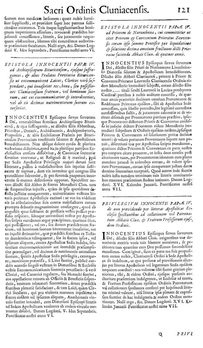 Bullarium Cluniacense p. 121   ⇒ Index privilegiorum