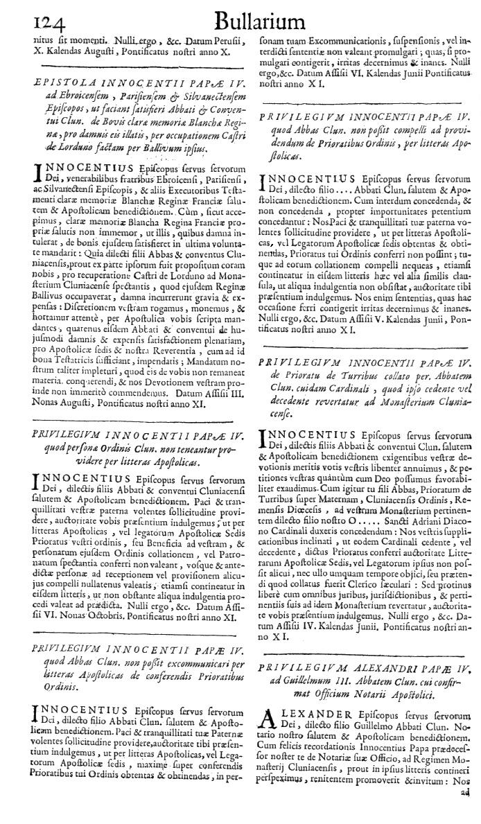 Bullarium Cluniacense p. 124   ⇒ Index privilegiorum