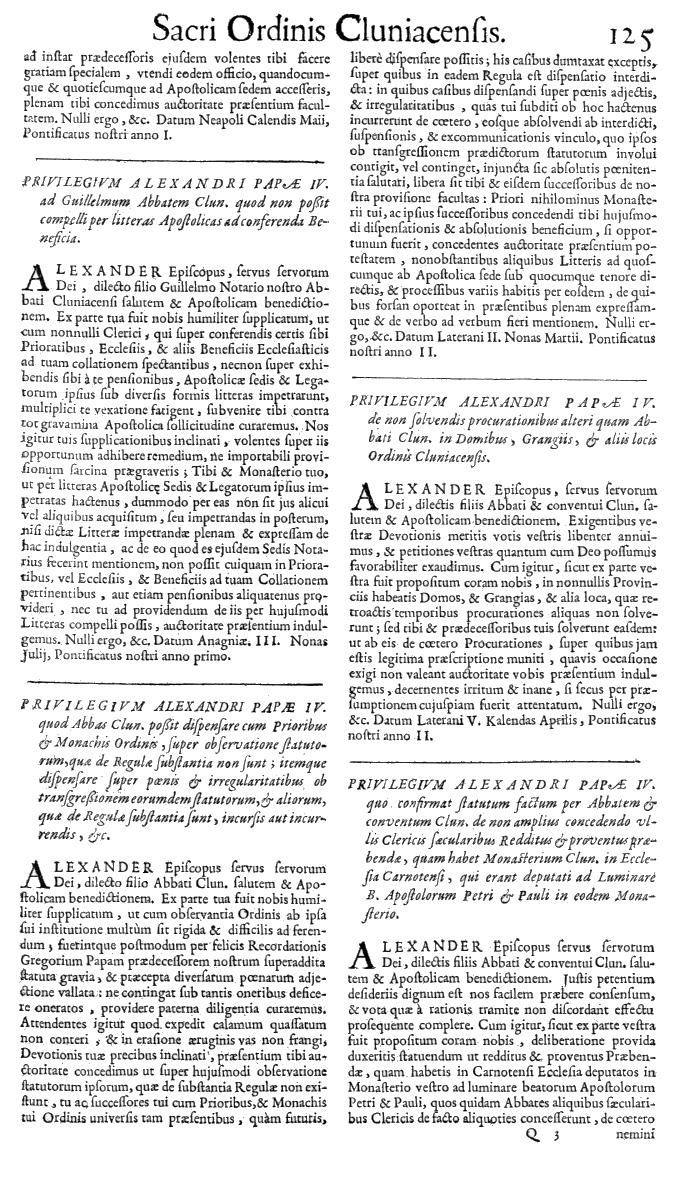 Bullarium Cluniacense p. 125   ⇒ Index privilegiorum
