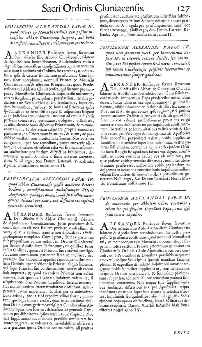 Bullarium Cluniacense p. 127   ⇒ Index privilegiorum
