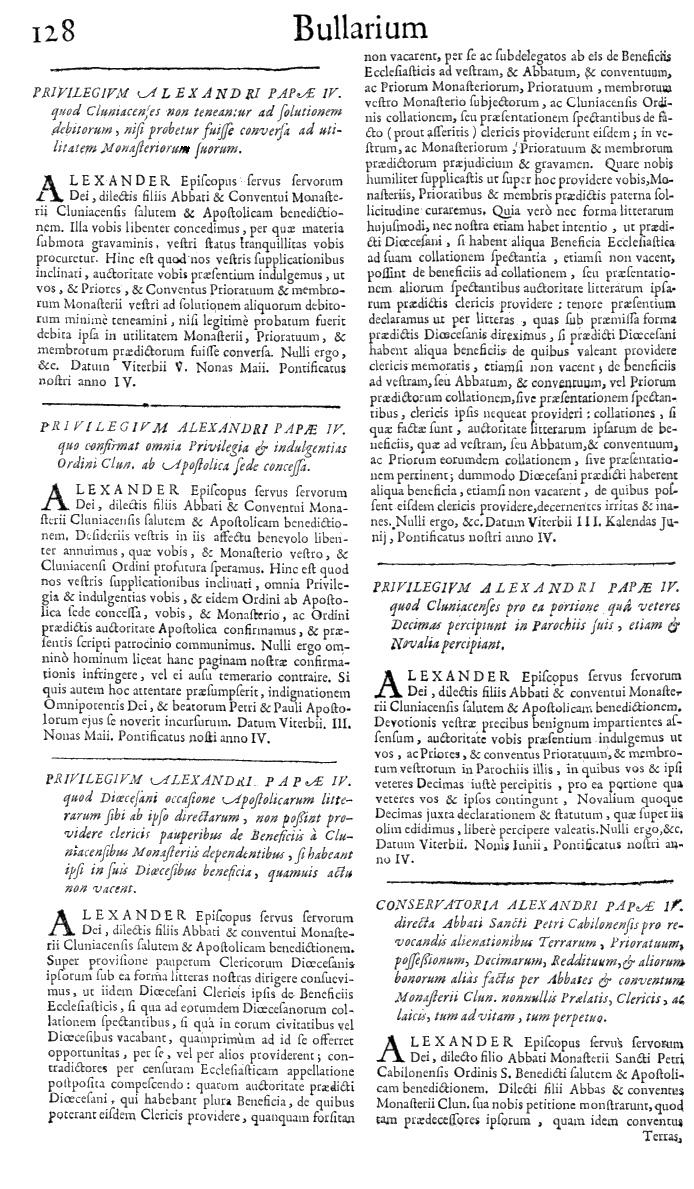 Bullarium Cluniacense p. 128   ⇒ Index privilegiorum