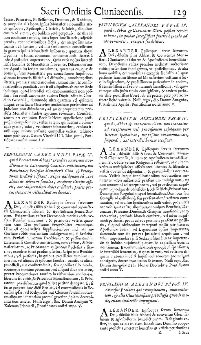 Bullarium Cluniacense p. 129   ⇒ Index privilegiorum