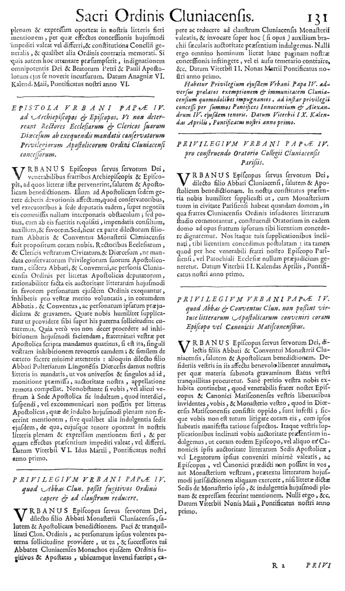 Bullarium Cluniacense p. 131   ⇒ Index privilegiorum