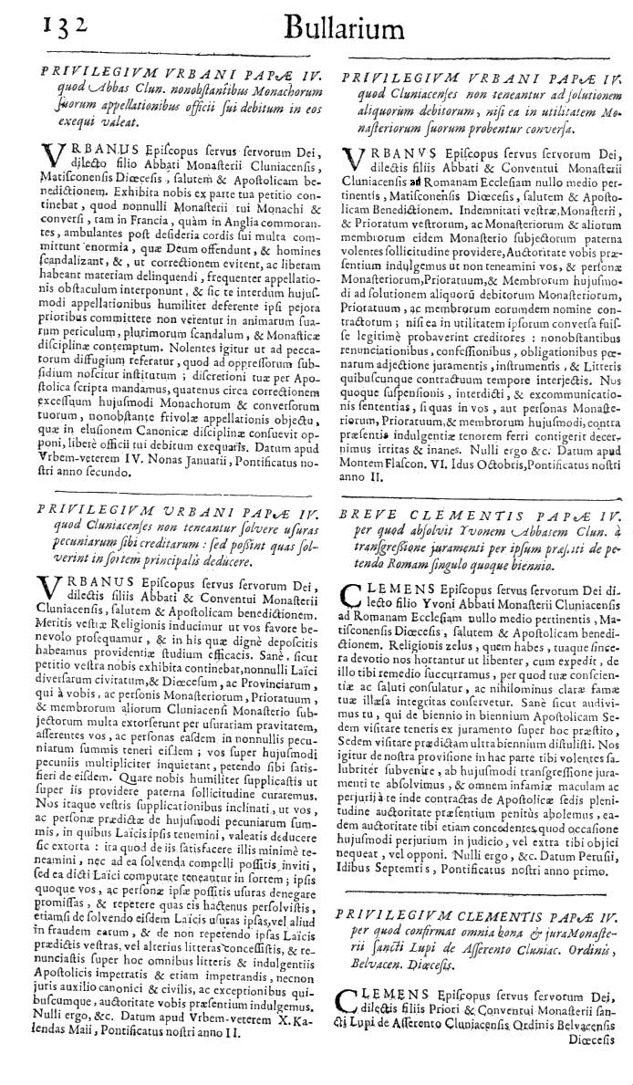 Bullarium Cluniacense p. 132   ⇒ Index privilegiorum