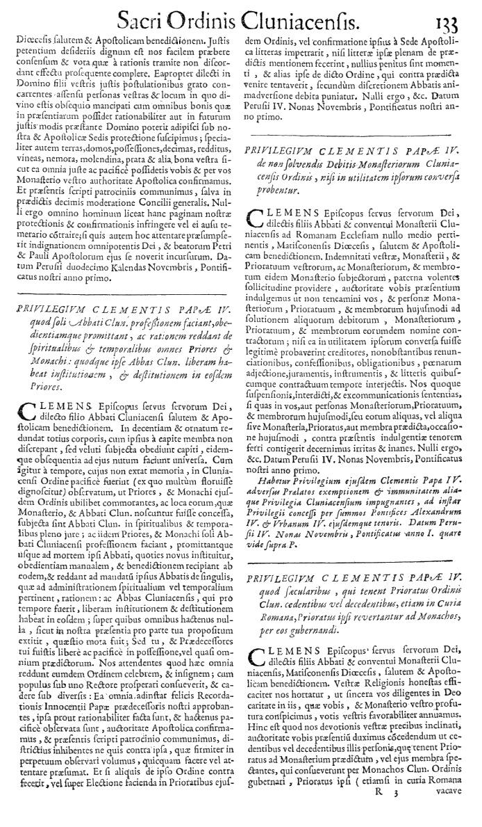 Bullarium Cluniacense p. 133   ⇒ Index privilegiorum