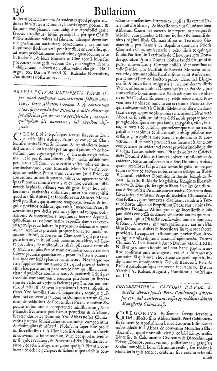 Bullarium Cluniacense p. 136   ⇒ Index privilegiorum