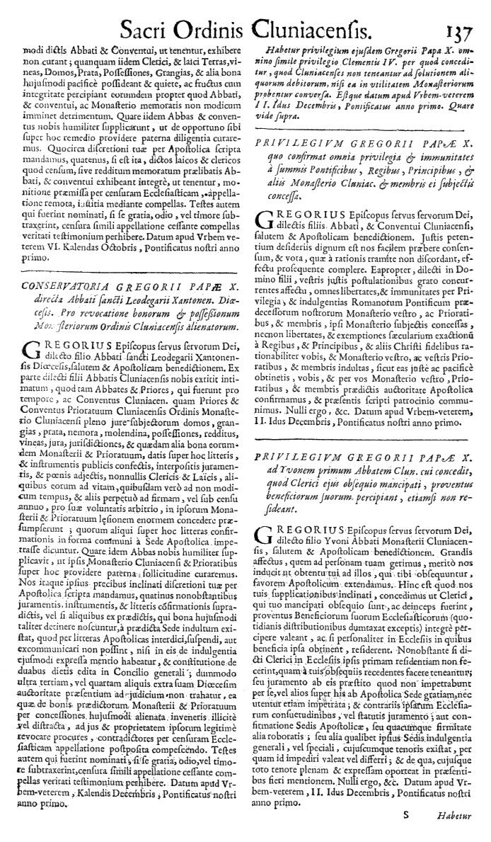 Bullarium Cluniacense p. 137   ⇒ Index privilegiorum