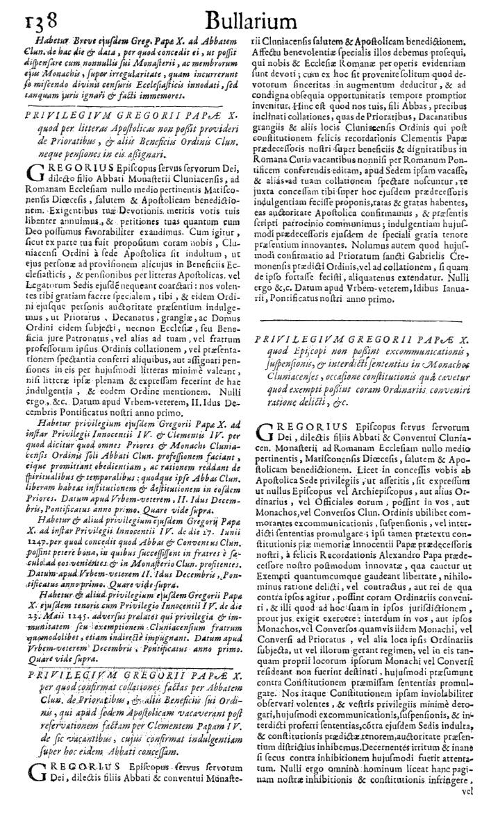 Bullarium Cluniacense p. 138   ⇒ Index privilegiorum