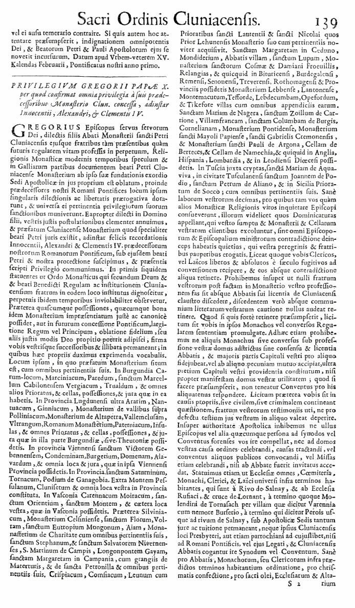 Bullarium Cluniacense p. 139   ⇒ Index privilegiorum