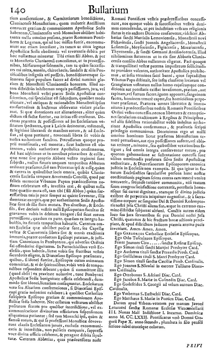 Bullarium Cluniacense p. 140   ⇒ Index privilegiorum