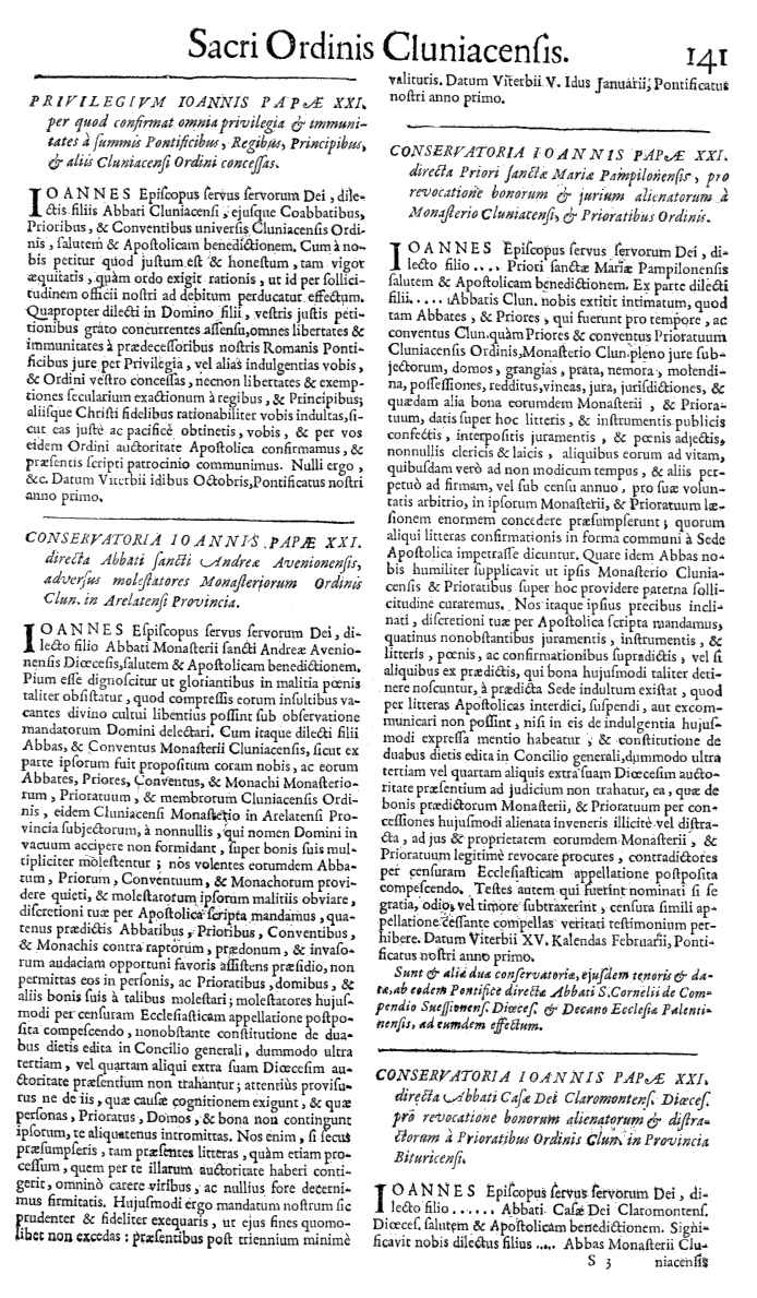 Bullarium Cluniacense p. 141   ⇒ Index privilegiorum