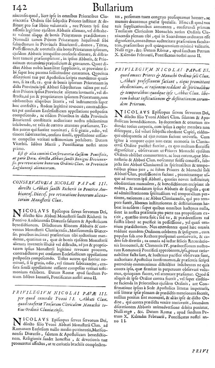 Bullarium Cluniacense p. 142   ⇒ Index privilegiorum