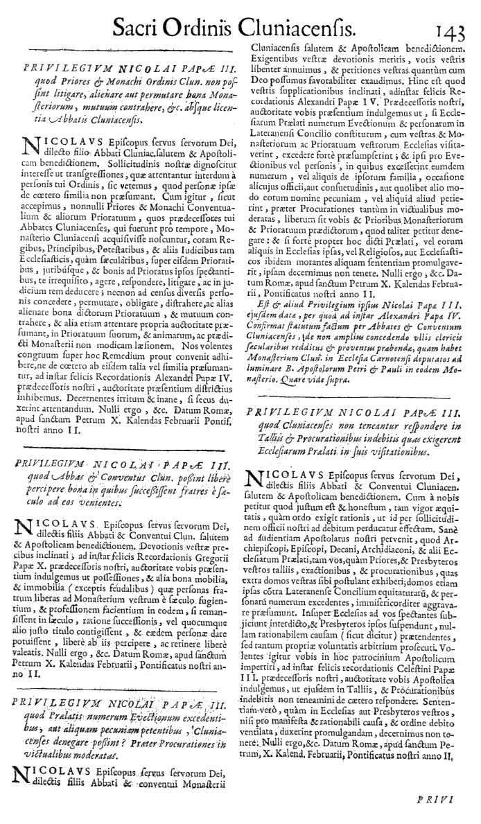 Bullarium Cluniacense p. 143   ⇒ Index privilegiorum