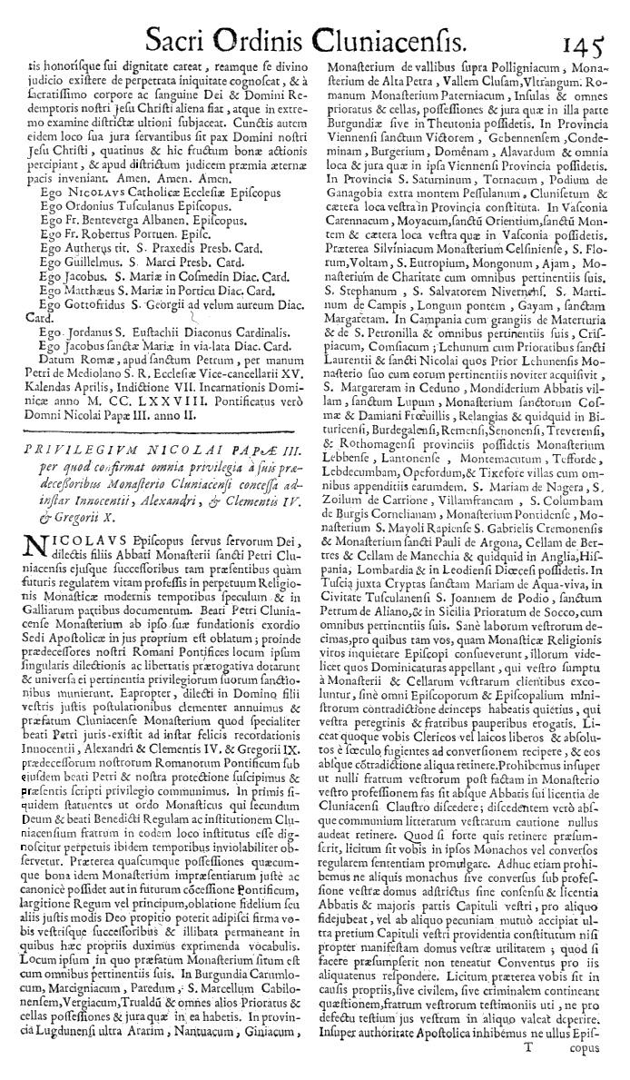 Bullarium Cluniacense p. 145   ⇒ Index privilegiorum