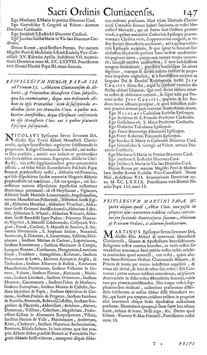 Bullarium Cluniacense p. 147   ⇒ Index privilegiorum