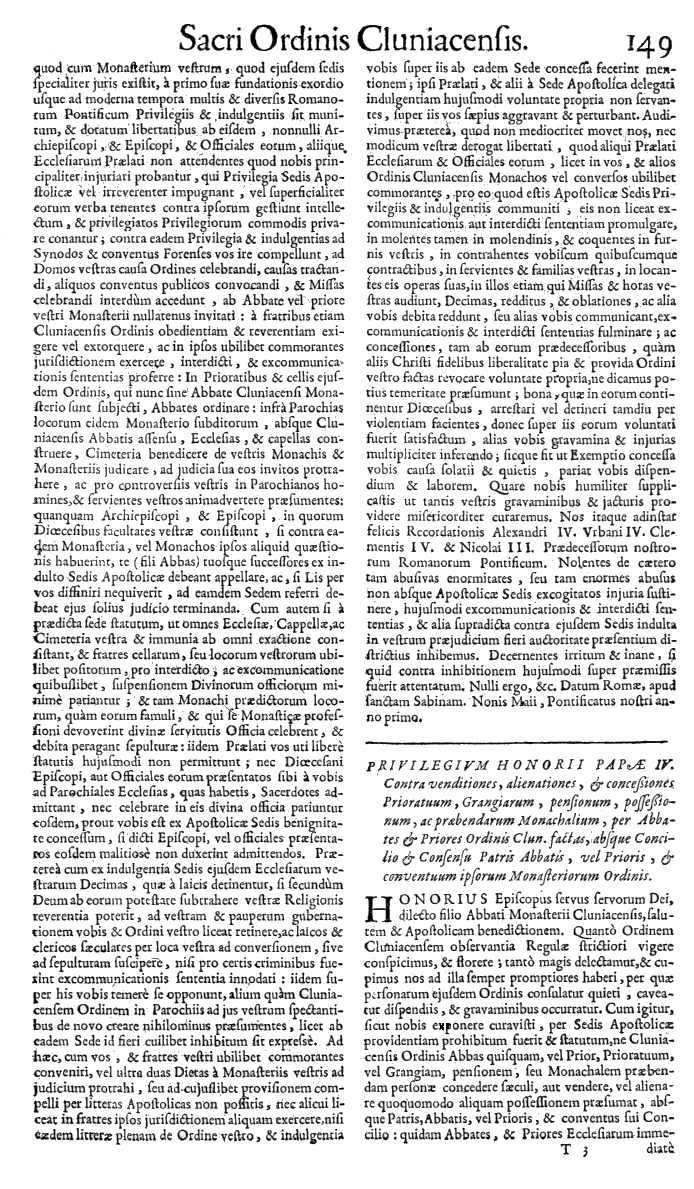 Bullarium Cluniacense p. 149     ⇒ Index privilegiorum