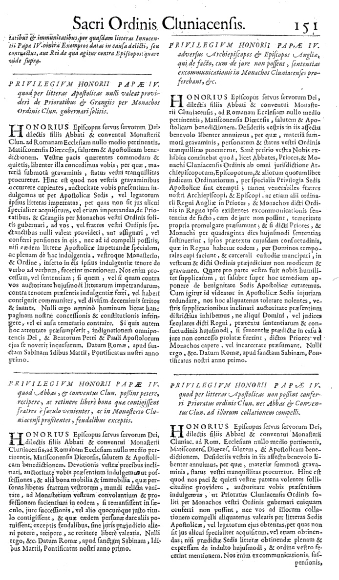 Bullarium Cluniacense p. 151     ⇒ Index privilegiorum