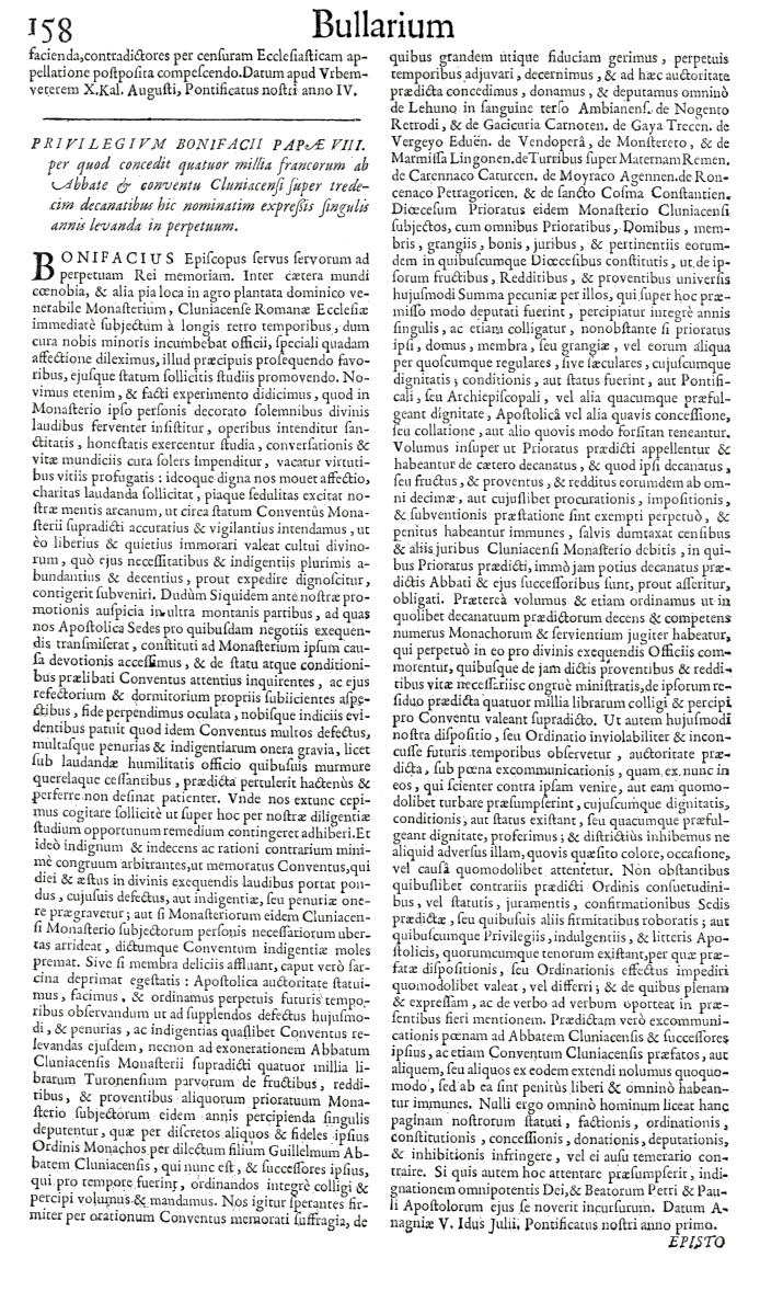 Bullarium Cluniacense p. 158     ⇒ Index privilegiorum