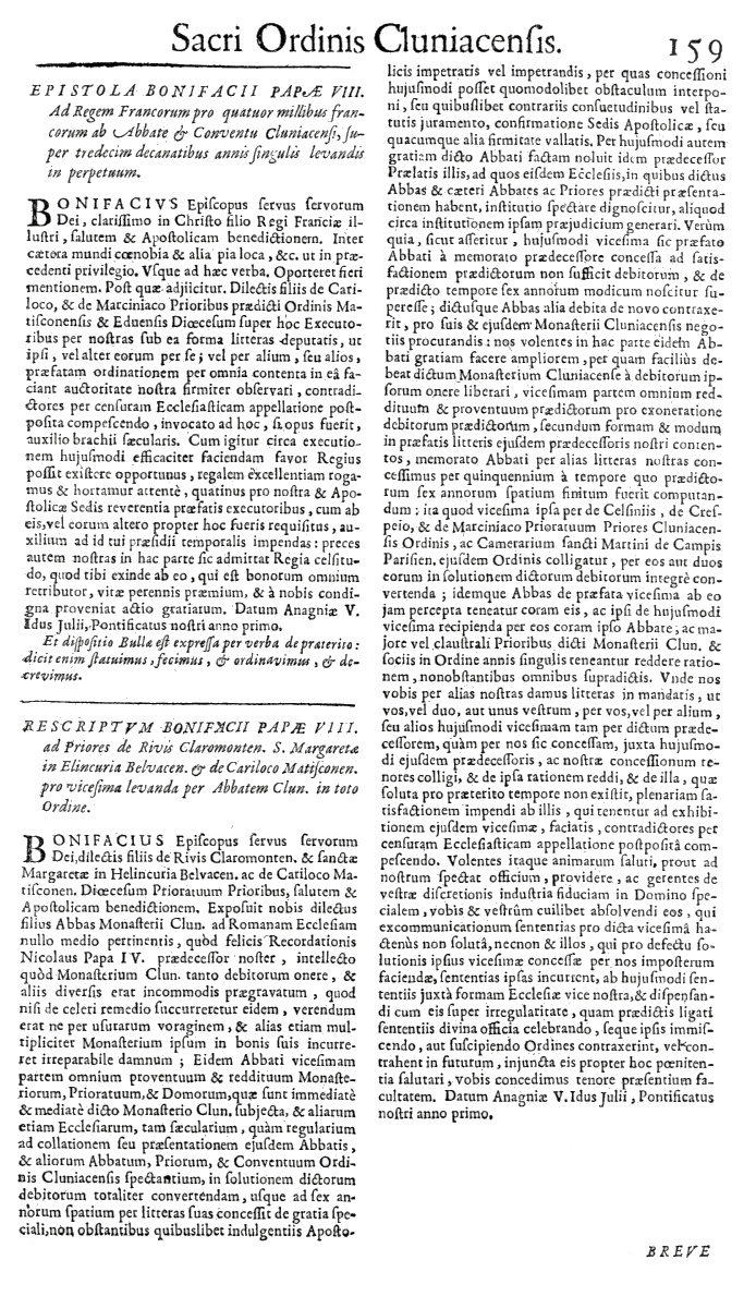 Bullarium Cluniacense p. 159     ⇒ Index privilegiorum