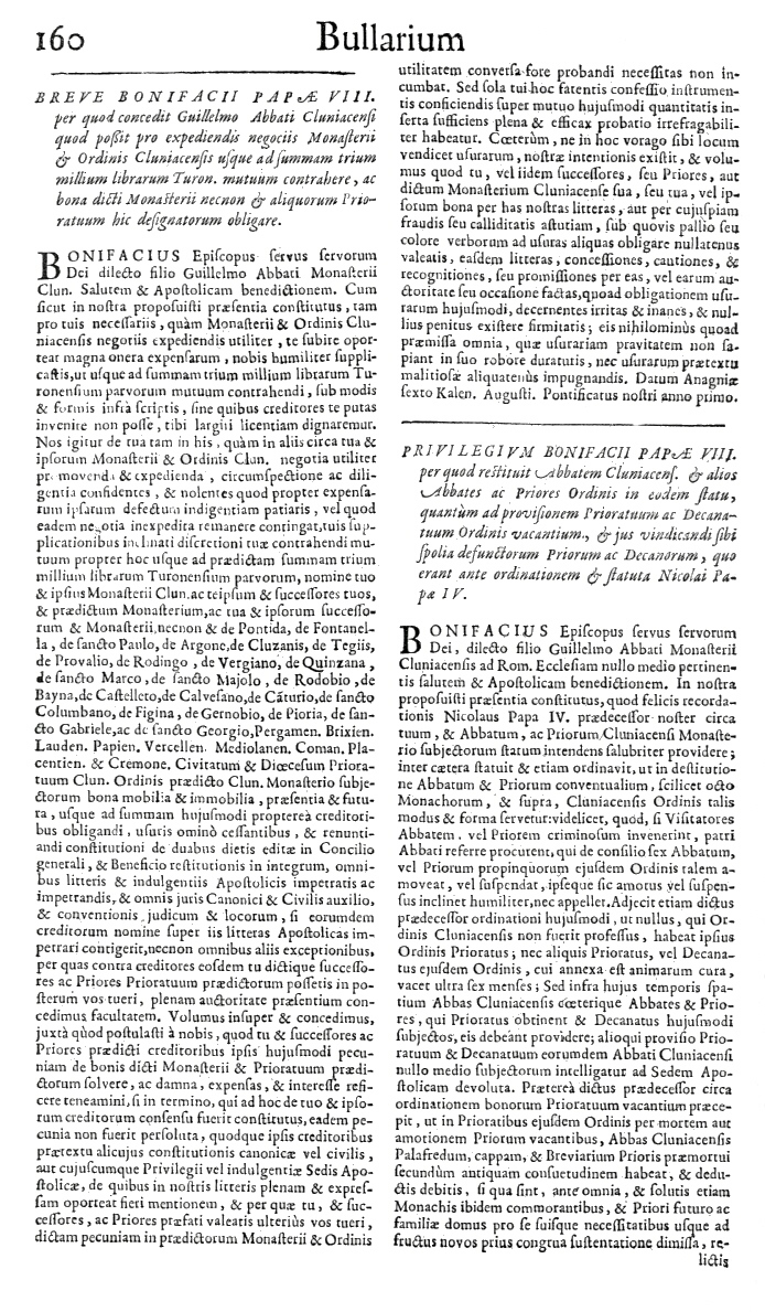 Bullarium Cluniacense p. 160   ⇒ Index privilegiorum
